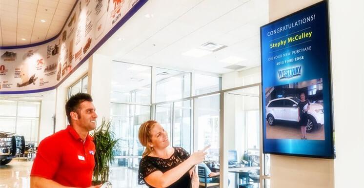 digital signage in dealer showroom